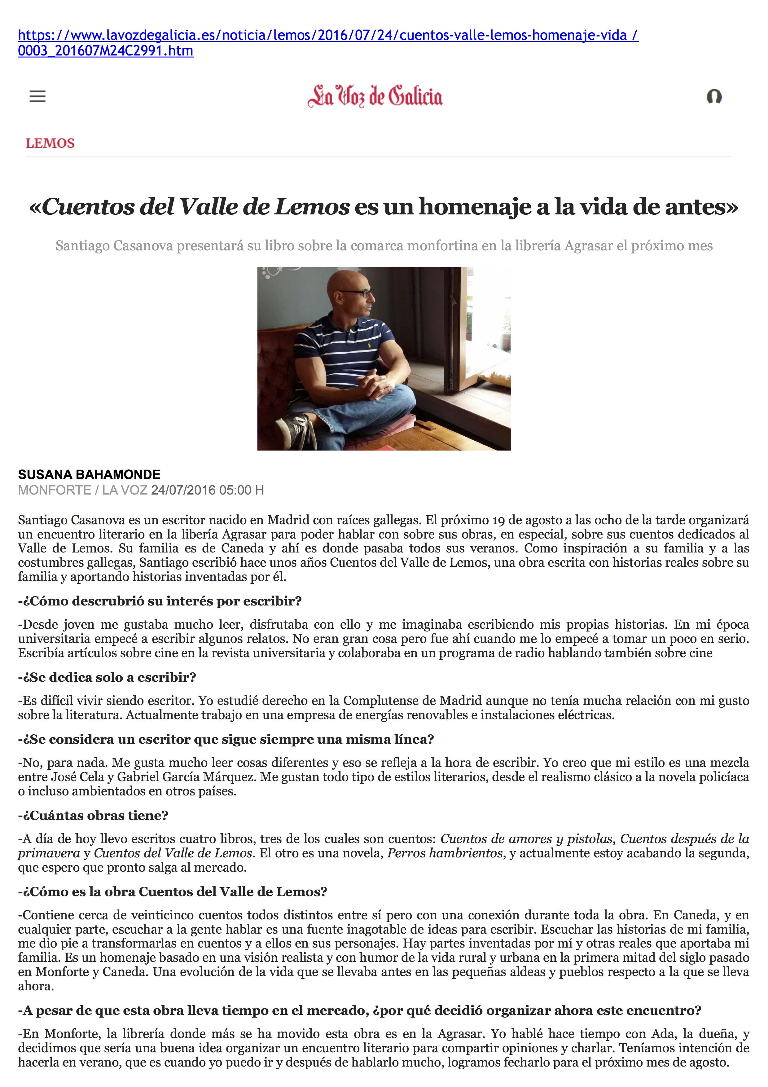 Entrevista LA VOZ DE GALICIA 24-07-2016